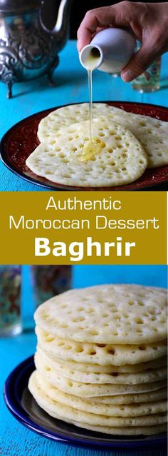 Baghrir is a Moroccan crepe prepared with semolina flour that features tiny holes at the top. It can be served plain or with butter and honey. #Morocco #Moroccan #196flavors