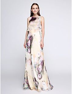 Sheath / Column Jewel Neck Floor Length Chiffon Two Piece Prom Dress with Pattern / Print by TS Couture® Cheap Prom Dresses Online, Evening Dresses Online, Cheap Evening Dresses, Cheap Wedding Guest Dresses, Evening Wedding Guest Dresses, Wedding Outfits, Strapless Prom Dresses, Prom Party Dresses, Sweetheart Prom Dress