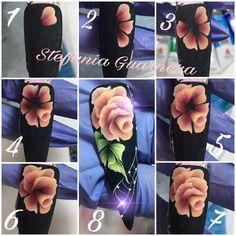 Фотография Uñas One Stroke, One Stroke Nails, One Stroke Painting, Nails & Co, Work Nails, 3d Nails, Art Rose, Nails First, Flower Nail Art