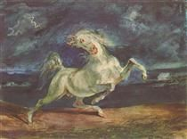 Horse Frightened by a Storm - Eugene Delacroix - 1824 - Romantisism