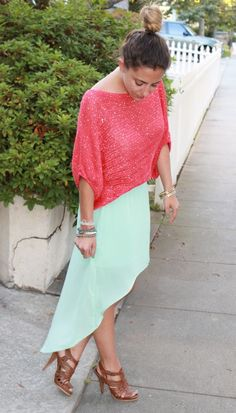 Mint + Coral from Bedazzles After Dark Mint Maxi a45a4ece8