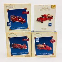 4 Hallmark Ornaments Fire Engine Brigade Series #1-4 2003-2006 Light & Sound NEW  | eBay