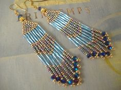"""Handmade Earrings  3.5"""" Long Blue Multicolored Pastel by WorkofHeart, $24.00   https://www.etsy.com/listing/171043578/handmade-earrings-long-blue-multicolored?ref=shop_home_active"""