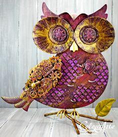 Colour Arte blog a steam punk owl by Mona Pendleton