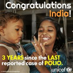 """""""People said it couldn't be done. But it's now been three years since the last reported case of polio in India - thanks to the tireless work of the millions of vaccinators, social mobilizers and community and health workers."""" Thanks to UNICEF for this meme. Pinned by RtAVM https://www.facebook.com/RtAVM"""