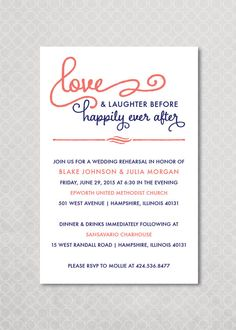 Chic wedding program couples questionnaire unique funny wedding happily ever after rehearsal dinner invitation on etsy 1500 stopboris Image collections