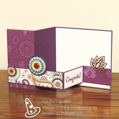 Double Z fancy fold card with Pretty Paisley DSP. Design by Natalie Lapakko. Hand Made Greeting Cards, Making Greeting Cards, Greeting Cards Handmade, Fancy Fold Cards, Folded Cards, Card Making Inspiration, Making Ideas, Step Cards, Shaped Cards