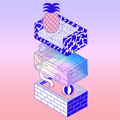 Levi Jacobs - Illustration cd cover design - www. 90s Design, Design Art, Graphic Design Typography, Graphic Art, Dm Poster, Animation 3d, Cd Cover Design, New Retro Wave, Memphis Design
