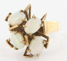 Vintage 9 Karat Yellow Gold Opal Cocktail Ring Fine Estate Jewelry Pre-Owned 7.5 $495