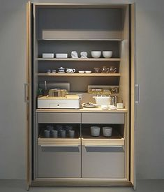 "Poggenpohl STAGE ""Tea"", as a stand-alone unit, STAGE can be positioned flexibly in the room and complements the kitchen architecture. Hidden Kitchen, Kitchen Pantry, New Kitchen, Kitchen Storage, Locker Storage, Kitchen Cabinets, Modern Kitchen Design, Kitchen Ideas, Modern Design"