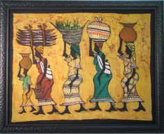African Batik-I used this project for and older students Co-op class.  We only did 3 of the ladies and did it on crinkled brown paper with pastels.  The project turned out very well.  1-2015