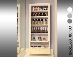 Makeup and jewelry storage bathroom . - Makeup and jewelry storage bathroom trendy ideas - Bathroom Counter Organization, Bathroom Vanity Storage, Vanity Organization, Organized Bathroom, Kitchen Storage, Organization Ideas, Wall Mounted Makeup Organizer, Wooden Organizer, Cosmetic Storage