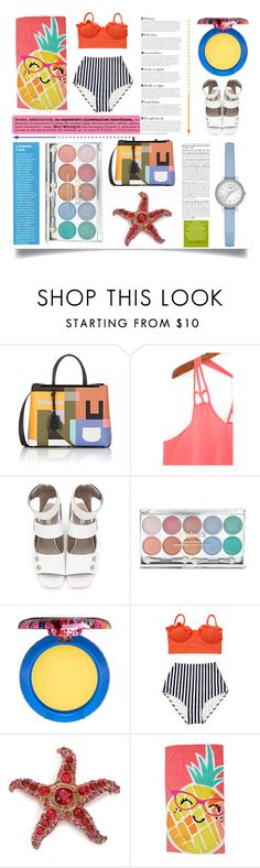 """Summer, Summer"" by pattykake ❤ liked on Polyvore featuring Fendi, MAC Cosmetics, Kenneth Jay Lane, Evergreen and GUESS"