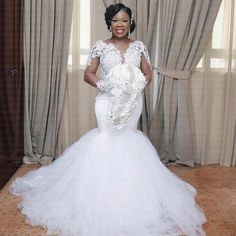 Modest African Mermaid Wedding Dresses Long Sleeve Lace Appliques Plus Size Sheer Tiers Fitted 2018 Bridal Gown Train Bride Dress Custom Sheer Wedding Dress, Plus Size Wedding Gowns, African Wedding Dress, Lace Mermaid Wedding Dress, Sexy Wedding Dresses, Mermaid Dresses, Bridal Dresses, Sexy Dresses, Lace Wedding