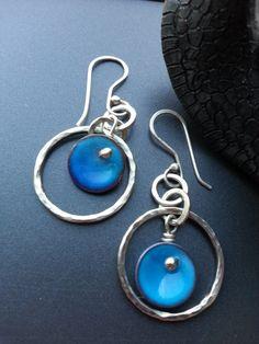 Custom order for blue Enamel Earrings