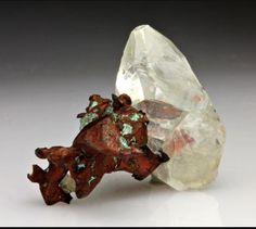 Calcite with Copper  -  Houghton Co., MI  mw