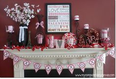 I love my friends mantles each month!  Pure holiday bliss! Valentine Day Love, Valentine Ideas, My Funny Valentine, Valentines Day Decorations, Valentine Day Crafts, Holiday Crafts, Christmas Decorations, Valentine Banner, Holiday Decorating