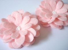 Set of 5pcs  handmade felt flower  pink Lili by CocoBella84, $5.95...photo for reference