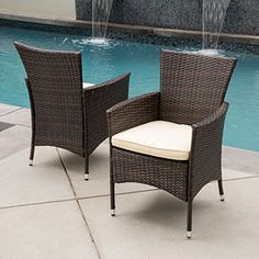 Clementine Outdoor Multibrown PE Wicker Dining Chairs Set of 2 ** Check out the image by visiting the link.