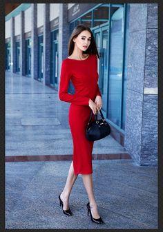 2016 nouveau printemps automne femmes mode élégante rendre robe à manches longues élastique confortable tissu rouge Club robes LGF1504871 Prix : € 31,70 / pièce Prix réduit :€ 25,36 / pièce