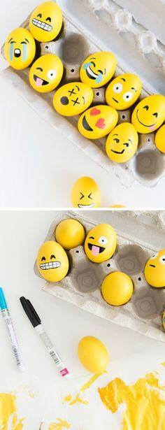DIY Emoji Easter Eggs | Click Pic for 20 DIY Easter Egg Decorating Ideas for Kids | Easy Easter Egg Crafts for Toddlers