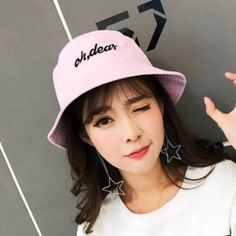 Oh dear embroidered bucket hat for teenage girls cotton hat