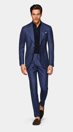 Mid Blue Bird's Eye Havana Suit Men's Business Outfits, Business Casual Men, Gq Mens Style, Man Style, Mens Tailored Suits, Mens Suits, Sport Casual, Men Casual, Man Fashion