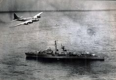 A Brazilian Air Force Boeing B-17 flying over the French escort vessel Tartu off the coast of Brazil during the Lobster War in 1963 [1885 x 885]