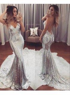 Silber Abiballkleider Abendkleider Meerjungfrau Pailletten Partykleider Günstig