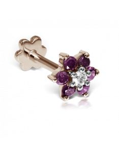 5.5mm Rose-Purple Diamond Flower Threaded Stud (Conch) Image #1