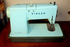1960s Aqua teal blue Singer sewing machine by SalvagedStyleVintage, $79.50