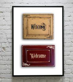 SALE- Cabinet Door Welcome Signs. $60.00, via Etsy.
