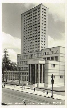 Biblioteca Mario de Andrade 1950 - Na Praça Dom José Gaspar, ladeando a Av. São Luis.