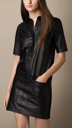 Robe chemise en cuir nappa   Burberry