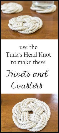 The Flat Turk's Head Knot is perfect for coasters & trivets. Instructions from start to finish, with images & videos. Perfect for entertaining, home use & gifting.                                                                                                                                                     More