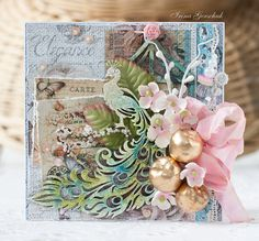 Irina Gerschuk as Hobby and Life with Golden apples and a peacock card -  Paper and chipboard - FabScraps, different powders embossing and glitter LSG, twig with flowers I leaves and plastic flower Prima, decorative apples and twigs with buds Scrapberry's, Shabby-tape, pins, beads, beads, sequins, lace, a knife for cutting the CLD . And Circuits: a sprig of leaf sprinkle beads; Apr 2014