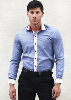 Мъжка риза Styler в син цвят с бели акценти | Онлайн маркови дамски дрехи, мъжки дрехи и дамски обувки. Online магазин за маркови рокли, блузи, ризи. Costume Sexy, Mens Suits, Man, Shirt Style, Button Down Shirt, Men Casual, Shirt Dress, Costumes, Men Shirt