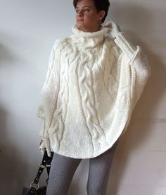 Hand knitted poncho braided cape sweater,fall fashion cabled poncho, avant garde traffic stoper, hottest fall trend, ivory cream sweater – The Best Ideas Knit Shrug, Crochet Poncho, Poncho Sweater, Poncho Knitting Patterns, Hand Knitting, New Fashion, Autumn Fashion, Pantalon Cigarette, Shawl