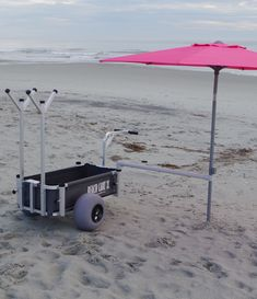 Beach Cart with Balloon Wheels, Chair Racks, Built-in Umbrella Holders. Push, Pull or Tow + Instant Shade. Best Wagons, Fishing Cart, Beach Wagon, Large Cooler, Beach Cart, Outside Paint, Coffee Bar Home, Beach Items, Large Balloons