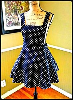 Pinafore dress/skater skirt/overall dress/bib dress/suspender dress/rockabilly/polka dots/size medium on Etsy, $48.50