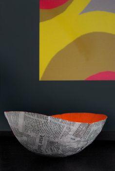 Vide poche design en papier journal - Tutoriel