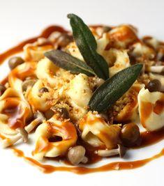 Truffle Scented Tortellini, Veal Reduction, Beech Mushrooms, Crispy Sage Leaves