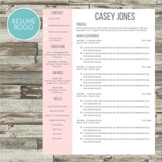 Resume Template  Word Instant Download With Cover Letter And