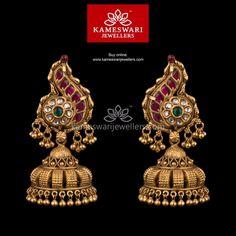 Designer Kundan Jhumkis with Microballs Gold Jhumka Earrings, Buy Earrings, Jewelry Design Earrings, Gold Earrings Designs, Gold Jewellery Design, Designer Earrings, Earrings Online, Emerald Jewelry, Antique Earrings