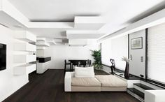 blocks on wall and ceiling design in paris apartment