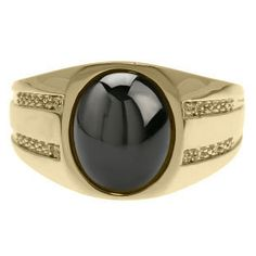 Oval-Cut Black Onyx and Diamond Men's Ring In Yellow by gemologica