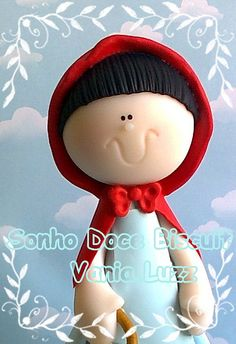 Chapéuzinho vermelho =)  by Sonho Doce Biscuit *Vania.Luzz*, via Flickr Fondant Figures, Clay Figures, Bright Cakes, Creative Area, Fondant Cupcake Toppers, Biscuit, Wedding Topper, Girl Decor, Sculpture Clay