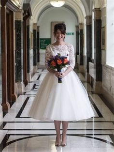 Tidebuy.com Offers High Quality Bateau Neck Half Sleeves Lace Tea-Length Wedding Dress,Priced At Only USD$130.67