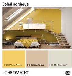 Une association moderne et graphique de tonalités neutres et légèrement ensoleillées. www.chromaticstore.com
