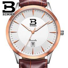 Switzerland men's watch luxury brand BINGER business quartz full stainless steel Water Resistance Wristwatches B3005M-7 #Affiliate